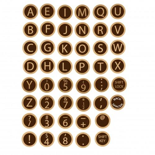 Typewriter Keys - Wood Veneers