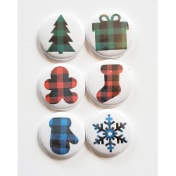 Buffalo Check Christmas Flair Buttons