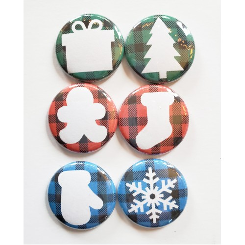 Buffalo Check Christmas Flair Buttons 2 - Flair