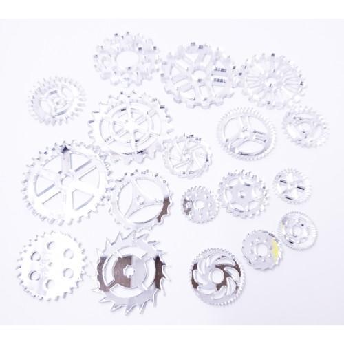 Mirror Acrylic Gears Silver - Acrylic