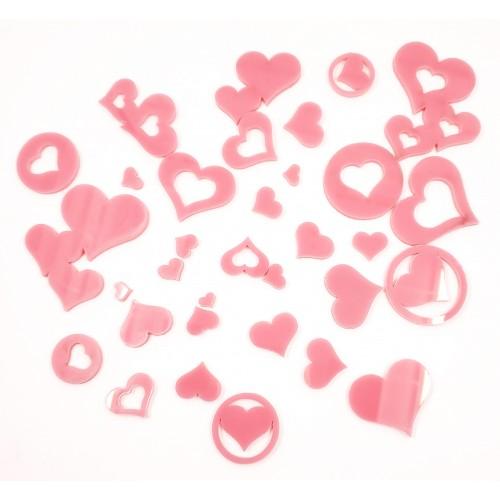 Acrylic Hearts Pink - Acrylic