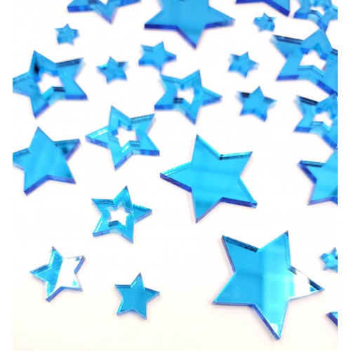 Mirror Acrylic Blue Star pieces - Acrylic
