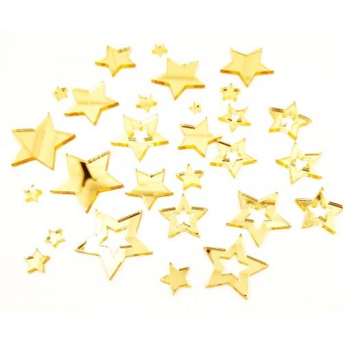 Mirror Acrylic Stars Gold - Acrylic