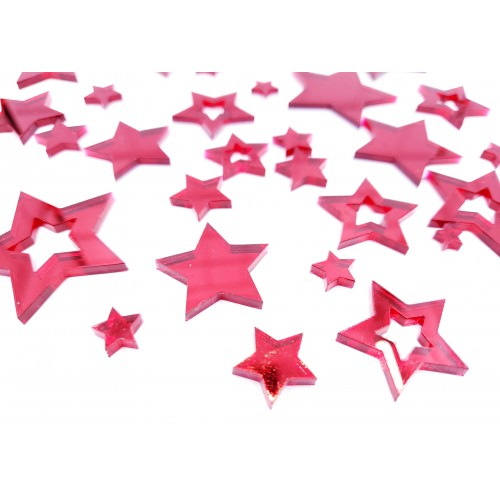 Mirror Acrylic Stars Red - Acrylic