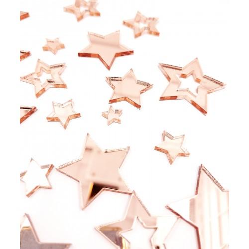 Mirror Acrylic Stars Rose Gold - Acrylic