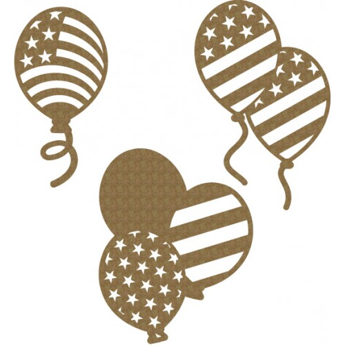 Star and Stripes Balloons - Chipboard