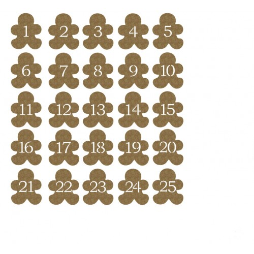 Gingerbread men Countdown - Chipboard