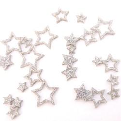 Small Silver Glitter Stars