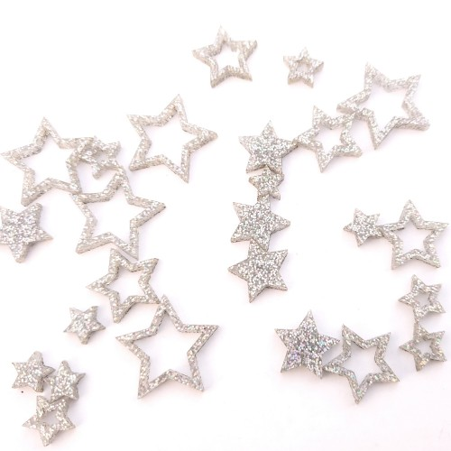 Small Silver Glitter Stars - Acrylic