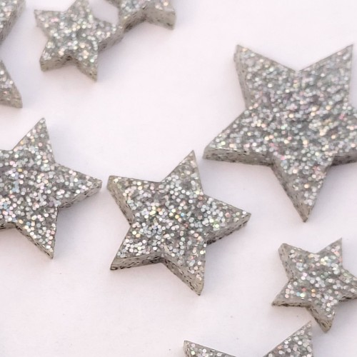 Small Silver Solid Star Set - Acrylic