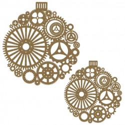 Large Steampunk Ornament pair