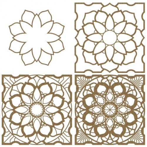 Layered Mandala Chipboard - Shapes