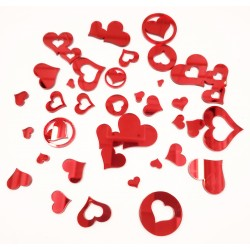 Mirror Acrylic Hearts Red 36 piece set