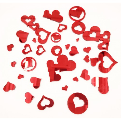 Mirror Acrylic Hearts Red 36 piece set - Acrylic