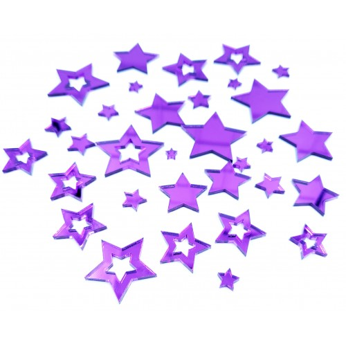 Mirror Acrylic Purple Star pieces - Acrylic
