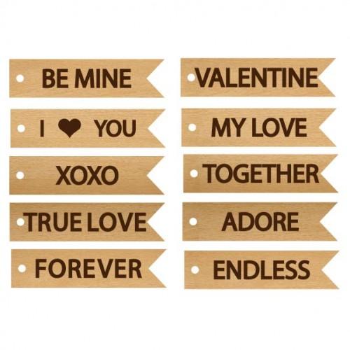 Word Love Tags - Wood Veneers