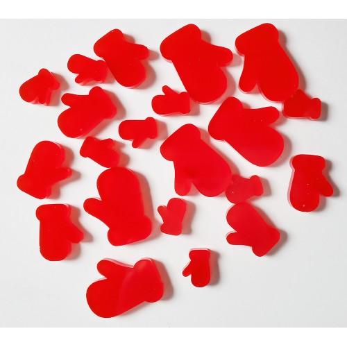 Red Acrylic Mittens - Acrylic