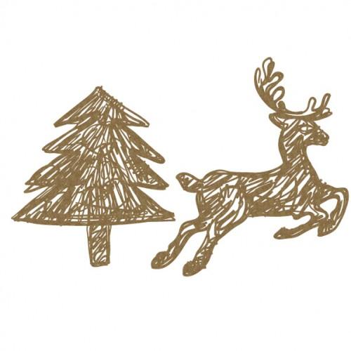 Scribble Deer and Tree - Christmas