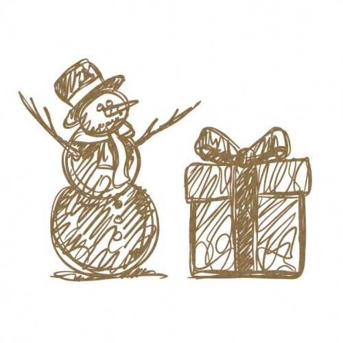 Scribble Snowman and Present - Christmas