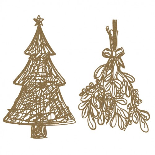 Scribble Tree and Mistletoe - Christmas