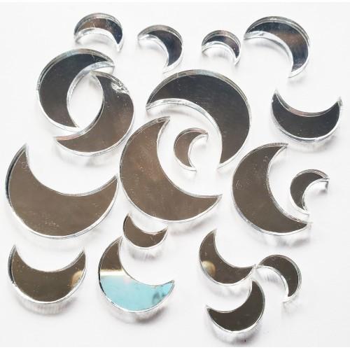 Mirrored Silver Moon Set - Acrylic